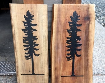Rustic hand painted Sitka trees
