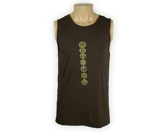 Men's Brown Sleeveless Chakra Shirt- Men's Yoga Shirt- Yoga Tank Top- MB2