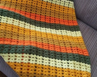 Fall color theme handmade crocheted afghan throw blanket