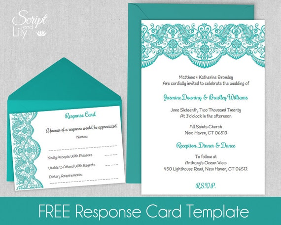 Printable Lace Invitation Template | FREE Response Cards | Wedding |  INSTANT Download | EDIT Text | Blue Green White | Word | Pages | | 5x7  Pages Invitation Templates Free