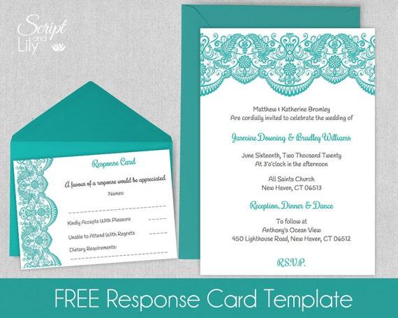 Printable Lace Invitation Template FREE Response Cards – Pages Invitation Templates Free