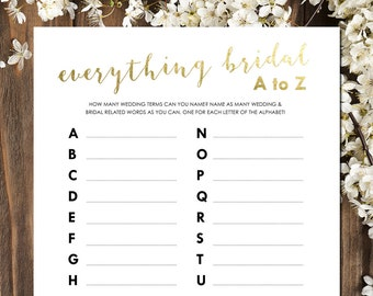 Bridal Shower Games | Bridal Shower Games Printable | Everything Bridal from A to Z | Gold Bridal Shower | INSTANT DOWNLOAD
