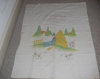 """1920's Linen """"Little Boy Blue"""" Hand Embroidered Child's Coverlet"""