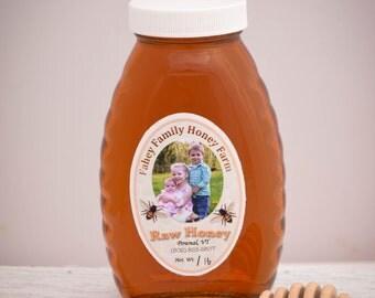 Raw Vermont wildflower honey, raw honey, unpasteurized honey, wildflower honey, 1lb glass jar, all natural honey