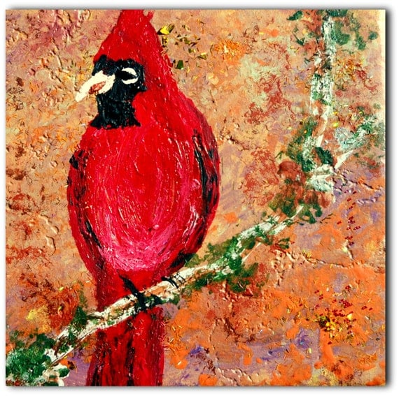 GARY Acrylic painting of a CARDINAL on Ceramic Tile Primitive Folk Art birds, nature wildlife glitter African American Artist Stacey Torres