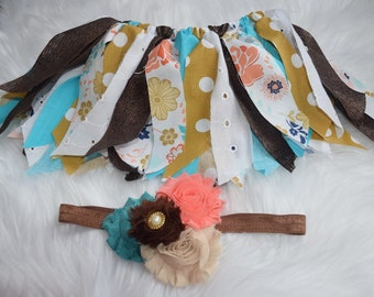 Size 6-12 month ready to ship coral and teal tutu with headband.