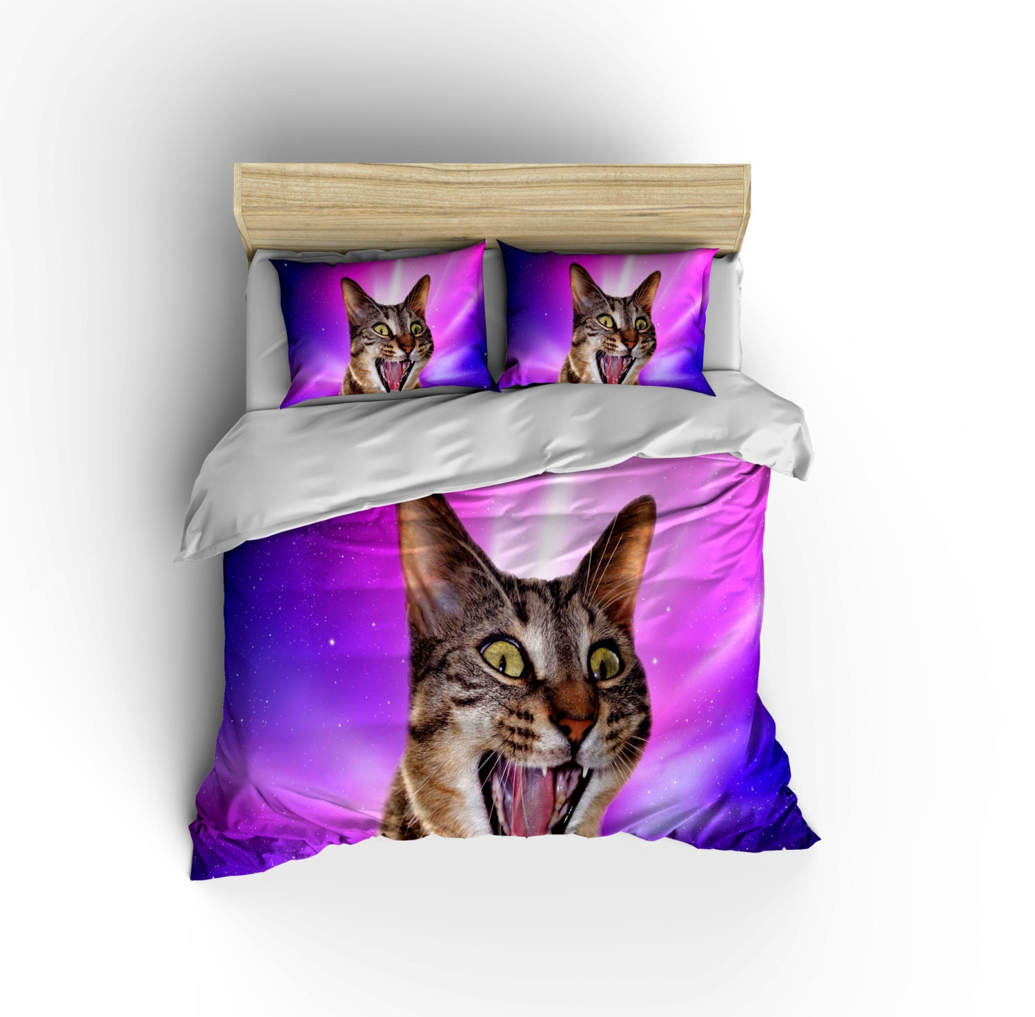Epic Space Cat Bedding Set Crazy Cat In Space Duvet Cover