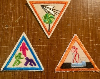 Set of 3 Vintage 1980's Girl  Scout Patches////Free Shipping