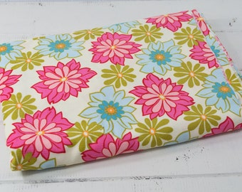 """2 1/2"""" Yds New Michael Miller Fabrics CH3507-BREE-D Cream with Pink Green Blue Flowers Fine Wale Velvety Soft Cotton Corduroy Fabric"""