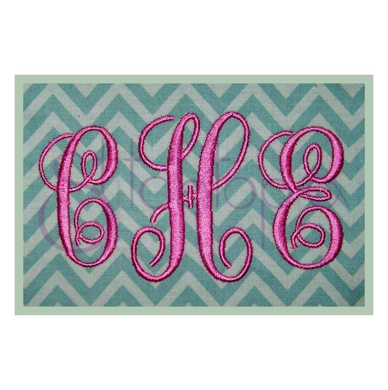 Elegant embroidery monogram set satin