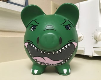 Trex Dinosaur Hand Painted Ceramic Piggy Bank Medium