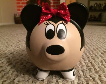 Disney Minnie Mouse Hand Painted Ceramic Piggy Bank Medium