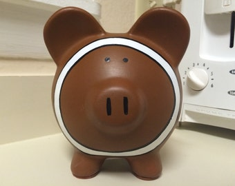 Hand Painted Football Ceramic Piggy Bank Medium