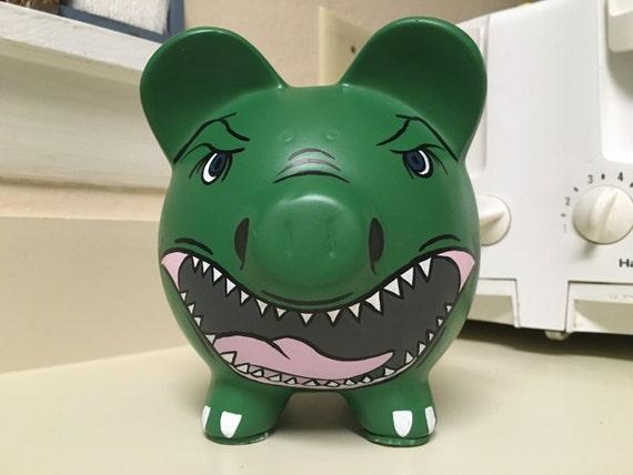Trex dinosaur hand painted ceramic piggy bank medium - Dinosaur piggy banks ...