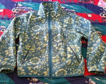 Vintage ll bean pattern fleece jacket sz medium women's