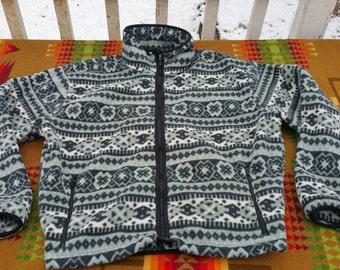 Vintage ll bean pattern fleece jacket