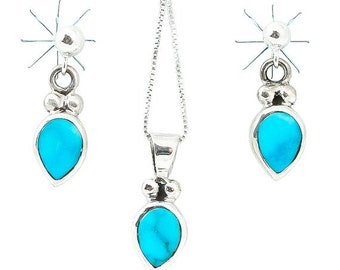 SAVE 15% Navajo Silver Turquoise Necklace Earrings Set