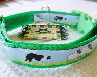 Dog Collar Green Border Collie Medium