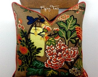 Mocha Chiang Mai Dragon Pillow cover - Customize to fit YOUR decor - Knife Edge OR Piped finish - Schumacher