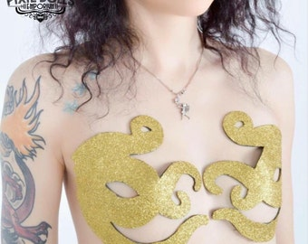 Gold Glitter octopus nipple covers