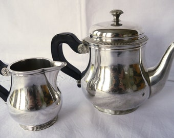 French Silver plated Teapot and milk jug / Ercuis Paris teapot and milk jug/ fine silverware / Ercuis Silver teapot and creamer