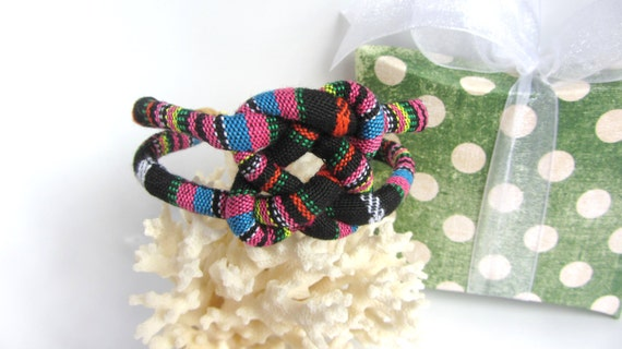 Boho Knotted Bracelet Ethnic Cotton Fabric Covered Cord Black Multi Celtic Square Knot Birthday Gift for Her Friendship Fall Fashion