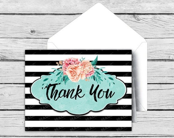 Printed THANK YOU Note Card Set - Teal Floral - Motivational Cards, Positive Inspiration, Printed Thank You Cards, Stationery