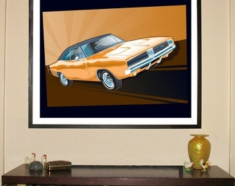 """1969 Dodge Charger 24""""w x 30""""h Giclee"""