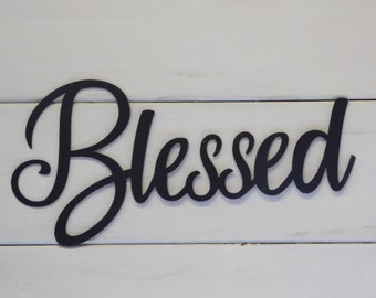 Blessed Sign, Rustic Word Art Sign, Housewarming Gift Idea