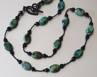 Blue Green Turquoise Necklace and Black Spinel Hand Knotted onto Silk with Black Heart Toggle Clasp