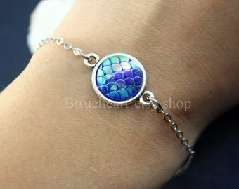 Best Gift! Hot Blue Mermaid Bracelet, Mermaid Scales, Dragon Scales, Mermaid Jewelry
