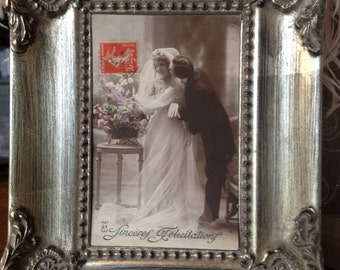 Antique French wedding postcard - 1914