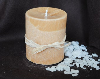 Palm Wax Pillar Candle - Xmas, Christmas Table Centre Piece - Pillar, Tower Candle, Gothic, Scary - Light Brown Colour
