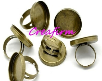 10 bronze rings for cabochons 25mm mounts