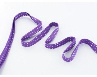 Bias of Lawn Violet with white polka dots, per metre