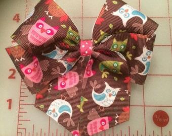 Owl hair bow