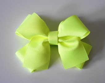 Neon Lime Hair Bow Clip