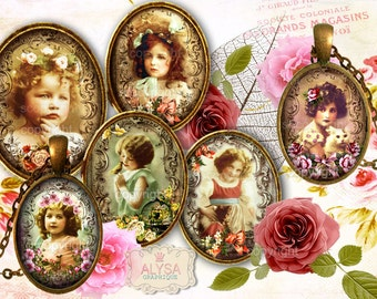 VICTORIAN CUTIES -  Digital Collage Sheet, digital download, digital images, oval images, for Jewelry Cabochons, Scrapbooking, Crafts