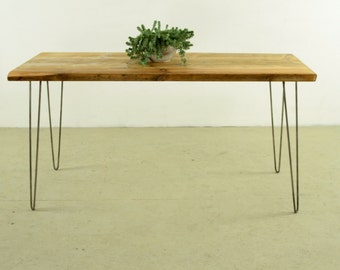 KITCHEN TABLE, RECLAIMED, Dining table, Desk, from salvaged wood, set on hairpin legs, Home furniture, Handmade, and Customized, Berlin,