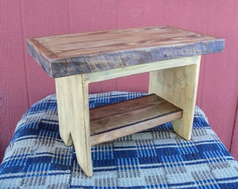 Handmade and Hand Painted Primitive Stool From Reclaimed Wood