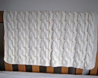 "Baby blanket ""Reversible Cables"", super soft Wool/Bamboo mix, hand knitted"