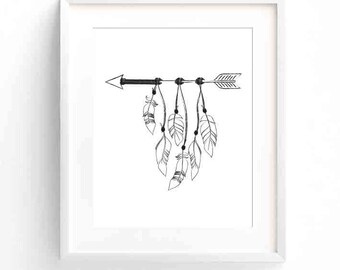 Black and White Arrow & Feathers Printable Art, Wall Prints, Digital Art, Downloads, Illustration, Line Drawing, Boho, Festival, Gypsy