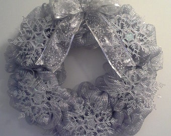 Winter Snowflake Silver Mesh Wreath
