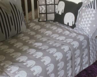 Grey  Elephant Cot Bedding Set, Grey Elephant Nursery Bedding! Grey Nursery Bedding, Baby Bedding Set in Grey, Elephant Nursery Bedding Set!