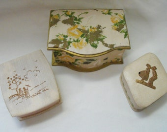 Three Vintage Boxes,Smelling Salts Packaging, Decorative Boxes, 1920s to 50s