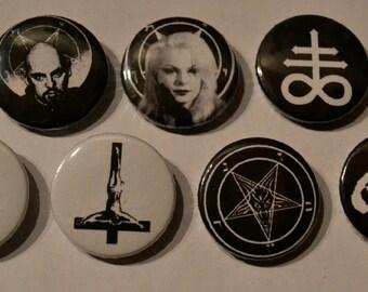 "666 Satan Baphomet Pentagram Anton LaVey Church Of Satan Pins Pinback badge  Button 1"""