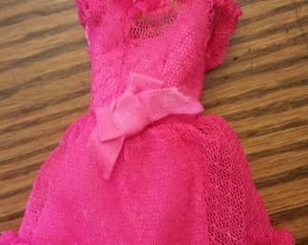 Vintage Francie barbie pink power lace dress