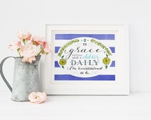 O to Grace Hymn Quote Wall Art/Hand Lettered Inspirational Quote Print/Come Thou Fount Lyric/Gifts for Mom/Christian Gifts