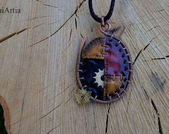 Steampunk necklace Steampunk pendant Steampunk jewelry Wire wrapped pendant Polymer clay necklace Copper wire necklace Polymer clay pendant
