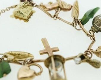 Gorgeous and Unusual Vintage 9ct Charm Bracelet (SKU 647)